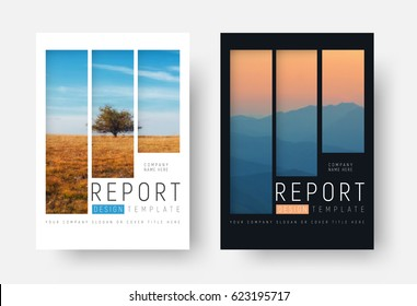 set of white and black report covers with a landscape and mountains in a minimalist style. A brochure template with rectangular elements for a photo. photo from a mosaic for a sample.
