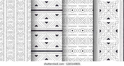 Set of white and black tribal patterns. Traditional Malian cloth with geometric ornament.