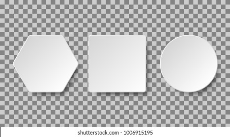 Set of white blank buttons on a transparent background for apps and website. Paper or plastic realistic 3d shape collection. Vector elements, eps10