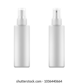 Set of white blank spray bottles. Mock up, cosmetic package. Vector template template for advertising, cosmetic products or household chemicals
