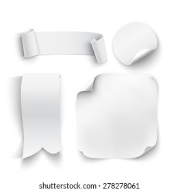Set of white, blank stickers, ribbons, isolated on white background. Vector illustration