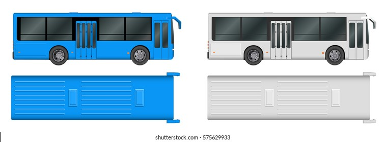Set white, blue City bus template. Passenger transport. Vector illustration eps 10 isolated on white background.