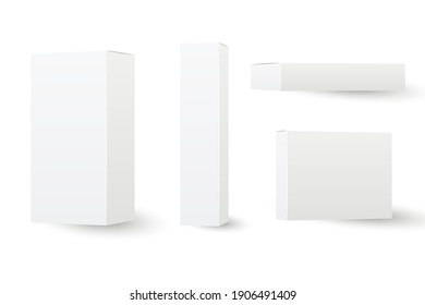 Set of white box mockup. Cosmetics product package mock up. Vector 3D illustration isolated white background.