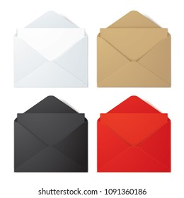 Set of white, brown, black and red vector envelopes, isolated on bacjground. Realistic vector envelope mockups.