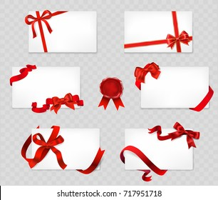 set of white cards with red bows and ribbons on transparent background. vector illustration