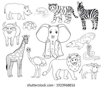 Set of white cartoon isolated outline Savannah animals. Tiger, lion, rhinoceros, common warthog, African buffalo, tortoise, chameleon, zebra, ostrich, elephant, giraffe, crocodile, cobra for children