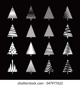 Set of White Christmas Tree. Vector Illustration and Icons