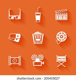 Set of white cinema movie icons. Vector cinema stuff in flat style with shadows.