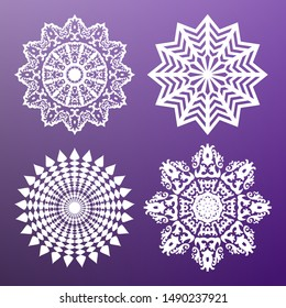 Set of white circular abstract patterns. Round vector ornament. Snowflake. Mandala. Arabesque. Vector illustration