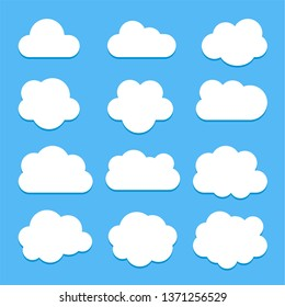 Set of white cloud icons in flat style isolated on blue background with shadow, for web site design, vector.
