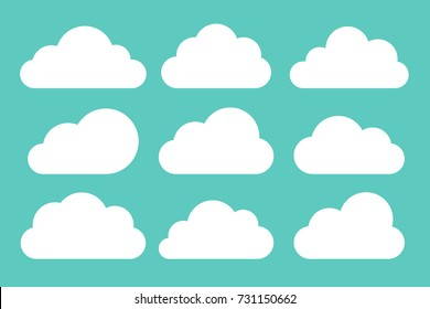 Set of white clouds collection on blue background, set template for web design and app