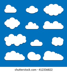 Set of white clouds with shadow isolated on blue background. Trendy modern flat sign Collection for your design, website, web button, banners, mobile app. Vector internet  logo. Network illustration.