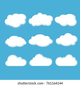 Set of white clouds with shadow on blue sky background.