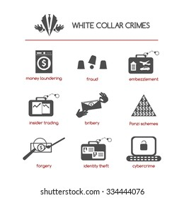 Set of white collar crime icons featuring such concepts as fraud, bribery, Ponzi schemes, insider trading, embezzlement, cybercrime, money laundering, identity theft, and forgery.