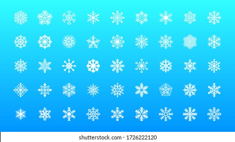 Set White Collection Line Snowflake Elements Winter Design Vector
