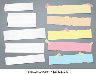 Set of white and colorful ripped notebook paper, torn note paper strips stuck with sticky tape on grey background. Vector illustration