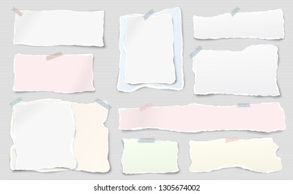 Set of white and colorful ripped notebook paper, torn note paper strips stuck with sticky tape on lined background. Vector illustration