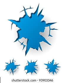 Set of White Cracked Background with Blue Hole. Vector Illustration