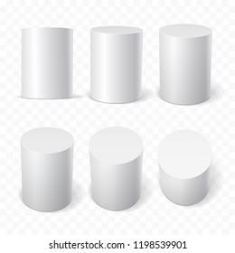 Set of white cylinders in various projections. 3d geometric shapes Vector illustration