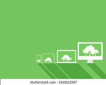 Set of white device gadgets white trees on green display paperless go green concept, leaf, tree, tablet, phone, computer, paperless idea conceptual design go green, save the planet, flat vector.
