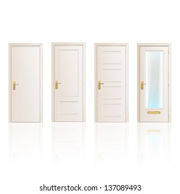 Set of white doors on isolated background. Vector design.