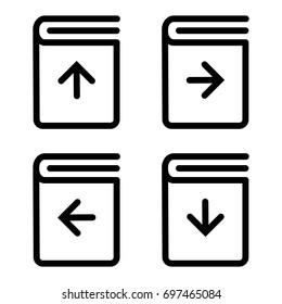 Set of white download book icon