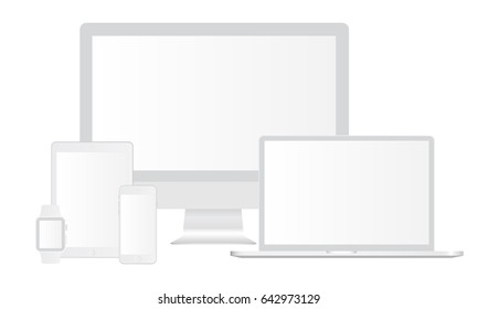 Set of white electronics Apple devices with blank screens: iMac, Macbook Pro, iPhone 6, iPad Air, Apple Watch. Mockups to showcase website design in modern style. Vector illustration