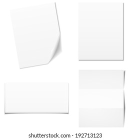 Set of white empty paper sheet, vector eps10