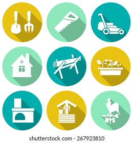 Set of white farming icons. Vector illustration