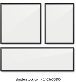 Set of white frame vector templates. White elegant frames with black borders and dropping shadow, isolated on background. Blank frame mockups.