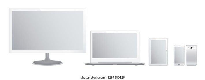 Set of white gadgets and computer devices in front side on white background. Realistic vector illustration, for graphic and web design