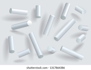 Set White geometric cylinders. 3d modeling white cylinder vector illustration. Abstract elements set.