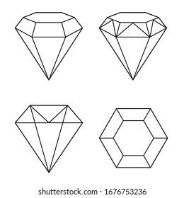 Set of white geometric diamond vector icons on a white background. Vector illustration. Decoration design.