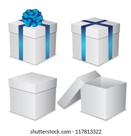 Set white gift boxes with a blue bow on white background