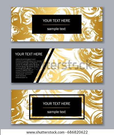 Set White Gold Banners Templates Modern Stock Vector Royalty Free