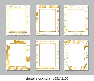 Set of white and gold flyers. Modern abstract design. Hand drawn ink pattern. Brush texture.