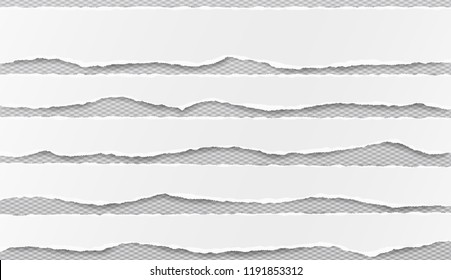 Set of white horizontal ripped paper strips, torn note paper for text or message on gray squared background