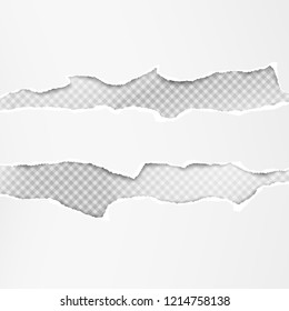 Set of white horizontal ripped paper strips, torn note paper for text or message are on grey squared background. Vector illustration