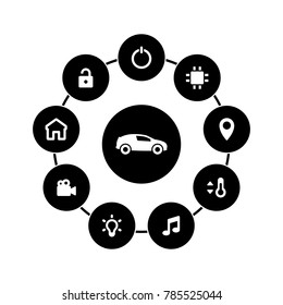 Set of white icons isolated against a black background, on a theme Smart car