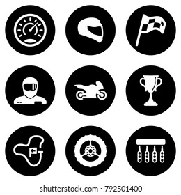 Set of white icons isolated against a black background, on a theme Motorcycle race