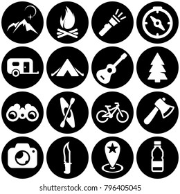 Set of white icons isolated against a black background, on a theme Camping