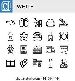 Set of white icons such as Fortunetelling, Helicopter, Flips flops, Books, Museum, Marker, Rubbish, Flower, Cap, Overall, Chat, Beetle, Jelly beans, Cake, Prisoner transport vehicle , white