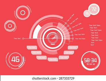 Set of white infographics as head-up display on red background