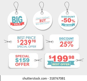 Set of white labels (tags, price ) of different shapes with  design elements, ribbons, stars and text. Vector illustration