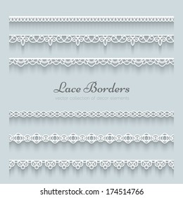 Set of white lace borders with shadow, ornamental paper lines, vector eps10