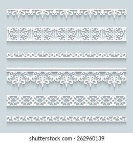 Set of white lace borders with shadows, ornamental paper lines, vector eps10