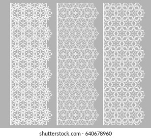 Set of white lace seamless borders, line patterns. Tribal ethnic arabic, indian decorative ornaments, fashion collection. Isolated design elements for headline, banners, wedding invitation cards