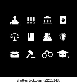Set of white law and justice icons with a Judge briefcase  book  hammer  jurors handcuffs scales  hat  lawyer  court  building icon police oath