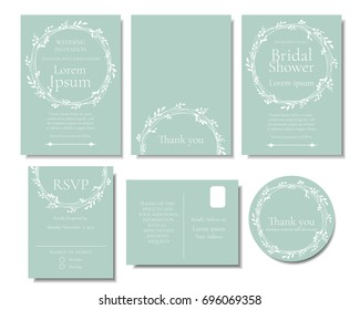 Set of white leave wreath on Green Mint color Wedding Invitation card.Vector/Illustration