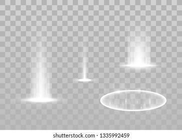 Set of  white light sources, backlights. Isolated on transparent background. Vector illustration, eps 10.